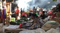 Ubud Market Bali Smoke and Textiles 4K Stock Footage