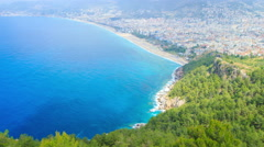 Cleopatra beach Alanya Turkey aerial Stock Footage