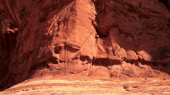 Arches National Park Rock Formations Double Window Arch Panning Stock Footage