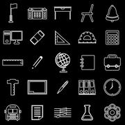 School line icons on black background Piirros