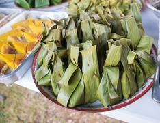 sticky rice with Thai custard - stock photo