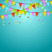 Party flags colorful celebrate abstract background with confetti Piirros
