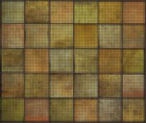 Orange square tile grunge circle pattern backgrounds collection Stock Illustration