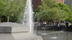 Slow motion Tisch fountain water center of Washington Square Park 4K NYC Stock Footage