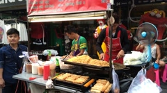 Street fast food in Bangkok downtown Stock Footage