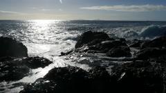 Slow Motion Waves Crashing Into Camera at Mermaid Pool Stock Footage
