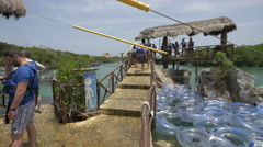 Getting ready for water activities at Xel-Ha Park, Cancun Stock Footage