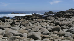 Rocky Shoreline at Pacific Grove Point Pinos Stock Footage