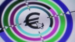 Press euro button on the screen Stock Footage