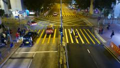 Top view people walking pedestrian crossing on red traffic light, night street Stock Footage