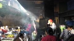 Ubud Market Bali Street Cooking on the go 4K Stock Footage