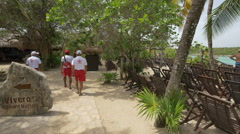 Relaxing near the wooden chairs at Xel-Ha Park, Quintana Roo Stock Footage