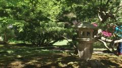 Stone lantern in Japanese Garden,  CLINGENDAEL ESTATE, THE HAGUE Stock Footage