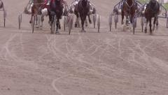 Many race horses hooves running across the race track, slow motion Stock Footage