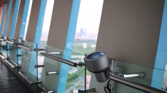 Interior of viewing platform in high-rise building with windows Stock Footage