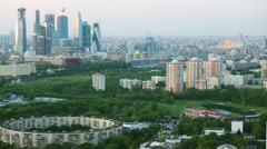 Moscow city business complex with skyscrapers and green park Stock Footage