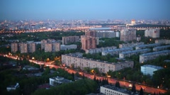 Residential district and Luzhniki Stadium in evening in Moscow Stock Footage