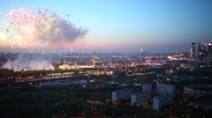 City business complex and Victory Park Memorial with fireworks Stock Footage