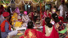 Ceremony of traditional hindu wedding in Jodhpur. Stock Footage