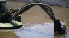 Universal dredging machine and excavation works in river Stock Footage