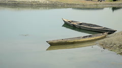 Wide shot of floating boat. Stock Footage