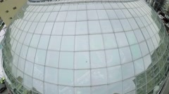 Spherical glass roof above aquapark Karibia at winter day. Stock Footage