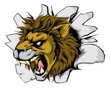 Lion sports mascot breakthrough - stock illustration