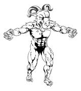Ram mascot with claws out Stock Illustration