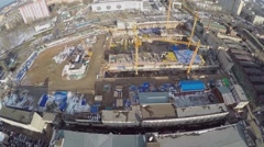 Construction site of new residential complex at spring day. Stock Footage