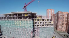 Stock Video Footage of Apart-complex RE:Form under construction at spring sunny day
