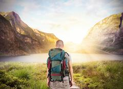Explorer find a lake - stock photo