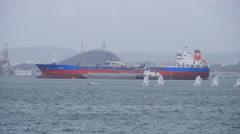 Tanker ship sailboats private jet plane Stock Footage