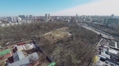 Cityscape include Preobrazhenskoe cemetery with mass grave Stock Footage