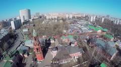 Cityscape with Nikolskiy Monastery in Preobrazhenskaya community Stock Footage