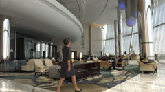 Stock Video Footage of Lobby in the Etihad towers in Abu Dhabi