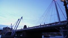 Wide angle shot of Golden Jubilee Bridge Stock Footage