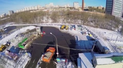 Snow melting station not far from urban sector at winter Stock Footage