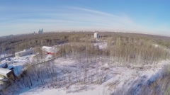 Cityscape with national park on Elk island in Moscow Stock Footage