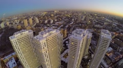 Residential complex with illumination in megalopolis at winter - stock footage
