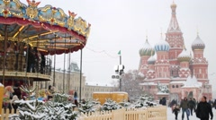 Carousel next to Saint Basil Cathedral on Red Square Stock Footage