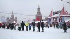 People applauding on GUM-Skating rink on the Red Square Stock Footage