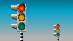 Traffic light, Non-stop flashing traffic lights animation Stock Footage