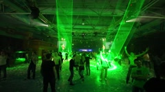 People having fun on the dance floor at the foam party Stock Footage