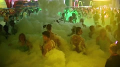 Stock Video Footage of Youth having fun on the foam party in Tuning hall nightclub