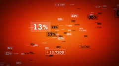 Percentages And Values Orange Rising - stock footage