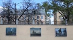 Photos on the fence on Sadovaya-Spasskaya Street. Stock Footage