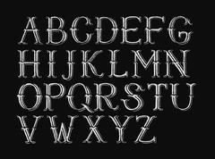 Alphabet hand-drawn on chalkboard - stock illustration