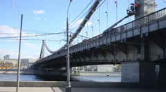 Krymsky bridge across the Moscow River in Moscow. Stock Footage