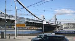 Frunzenskaya embankment and Krymsky bridge across Moscow River Stock Footage