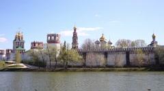 Orthodox women Bogoroditse-Smolensky Monastery. Stock Footage